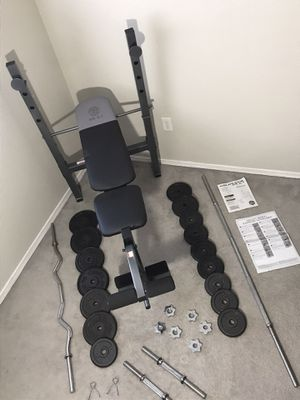 174 POUNDS OF WEIGHTS •BRAND NEW ADJUSTABLE BENCH•BARBELL•CURL BAR•DUMBBELLS•STARS & CLIPS & EXERCISE MANUEL GUIDE • PERFECT WORKOUT SET• for Sale in Las Vegas, NV