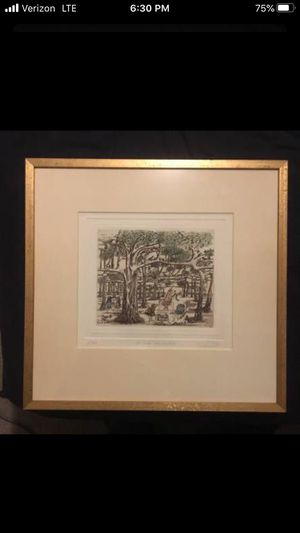 """Original Vintage Etching By Guillermo Santamaria Silva """"Uu Árbol Maravilloso"""" Framed and Matted for Sale in Beaverton, OR"""