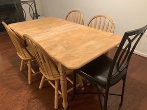 Dining wood table and 4 chairs plus 2 bar stools for Sale in Fairfax, VA