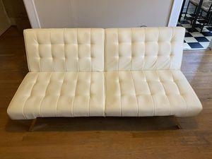 Leather vanilla white/cream couch/futon PERFECT CONDITION! for Sale in Seattle, WA