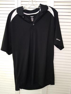Men's Reebok Large Black/ White stripe polo shirt for Sale in Salt Lake City, UT