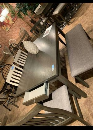 Brand New Gray or White 6-Piece Dining Sets $579 // Table & 4 Side Chairs & Bench included // Table & 6 Side Chairs $599. for Sale in Houston, TX
