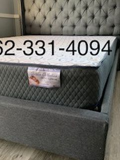 ♣️New Full Grey Button Tufted Bed w/New Mattress Included♣️ for Sale in Fresno,  CA