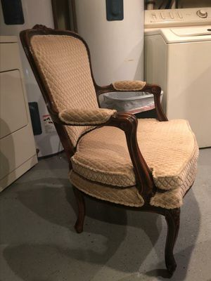Pair of cream antique upholstered chairs for Sale in Fort Lauderdale, FL