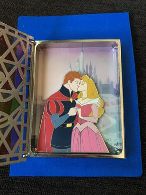 LE JUMBO Disney Pin Stained Glass Storybook Sleeping Beauty Aurora Prince Philip for Sale in Los Angeles, CA