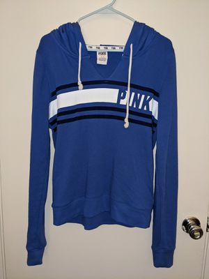 Victoria's Secret (Pink) Blue Sweatshirt Hoodie Pullover Jacket Size Medium Women's for Sale in HUNTINGTN BCH, CA