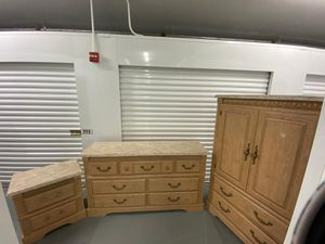 Bedroom Set / Wood - Dresser + Nightstand + Armoire - Delivery Negotiable for Sale in Pompano Beach, FL