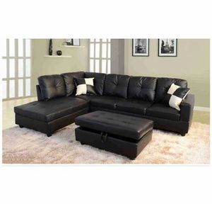Black faux leather Sectional with ottoman & 2 pillows ( New ) for Sale in Chico, CA