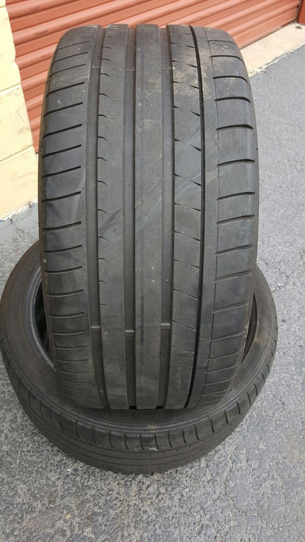 (2) 255/35/19 DUNLOP SP SPORT MAXX USED TIRES