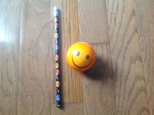 Pencil and bouncy ball