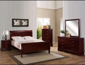 Brand new 4 pcs queen bedroom set cherry color for Sale in Duluth, GA