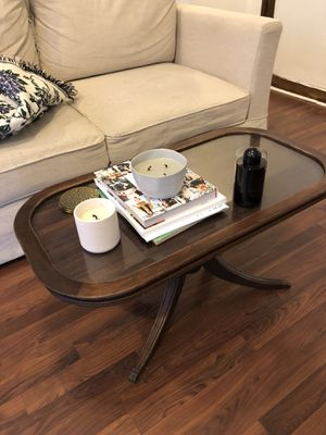 Antique Mid Century Coffee Table - Wood + Glass with Clawed Feet for Sale in Brooklyn, NY