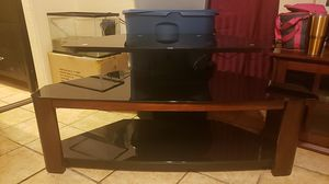 "BLACK TV STAND WITH GLASS AND WOOD SHELVES, STEEL FOR 21"" TO 52"" TV for Sale in Santa Ana, CA"