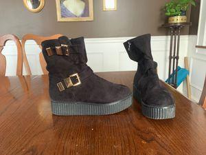 Black suede ankle platform boots size 9 1/2 for Sale in Lyndhurst, NJ