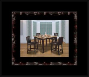 Marble tall table with 4 leather chairs for Sale in Fairfax, VA