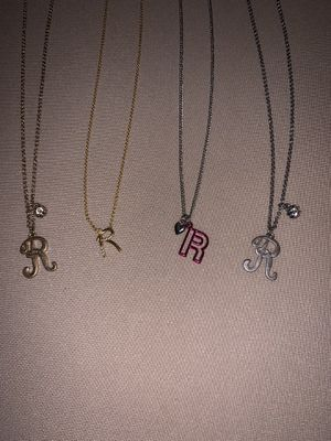 """Set of 4 """"R"""" Initial Pendant Necklaces for Sale in San Diego, CA"""
