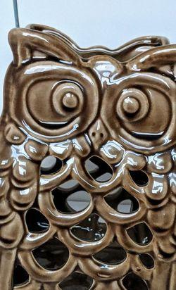 Owl Lantern, Ceramic Glass Piller Candle Holder, New for Sale in Upper Black Eddy,  PA