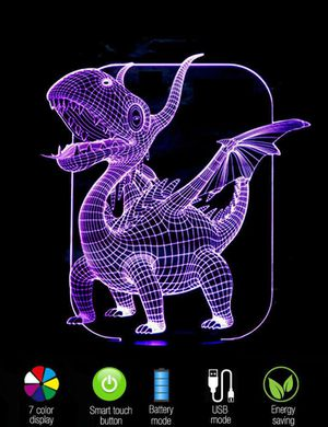 3D Illusion Night Light Fun Dragon Table Lamp 7 Color Change for Sale in Las Vegas, NV