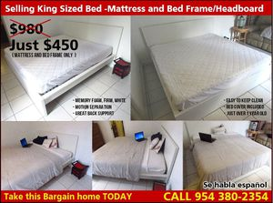 king size platform bed set with Tempurpedic-Like  Mattress for Sale in Fort Lauderdale, FL