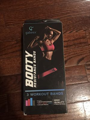 Booty Fitness Resistance Bands 3 Workout Bands included for Sale in Lowell, MA