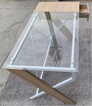 New in box 48x24x30 inches tall modern contemporary style conputer desk with glass top and drawer for Sale in Los Angeles, CA