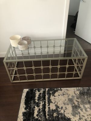 End table and coffee table- glass top with gold bottoms for Sale in Chelsea, MA