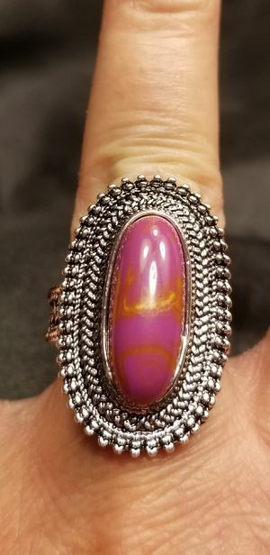 Antique Sterling Silver Designed Ring W/Simulated Lavendar Oval Turquoise. for Sale in Amarillo, TX