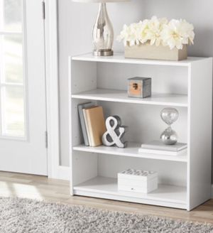 New!! Bookcase , 3 shelf bookcase, bookshelves, organizer, living room furniture, storage unit , white for Sale in Phoenix, AZ