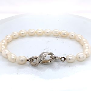 "Tiffany & Co. 1999 Sterling Silver Freshwater Pearl Infinity Bracelet 7.5"" for Sale in Boynton Beach, FL"