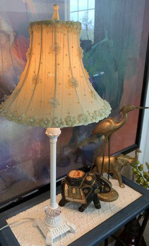 Shabby Chic Yellow and White Floral Lamp for Sale in Aurora, CO