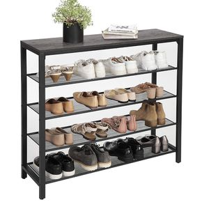 Shoe Rack, Shoe Storage Organizer with 4 Mesh Shelves and Large Surface for Bags, Shoe Shelf for Entryway Hallway Closet, Steel Frame, Industrial, Cha for Sale in Rancho Cucamonga, CA