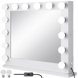 White Hollywood Makeup Vanity Mirror Set with Light Stage for Sale in Los Angeles, CA