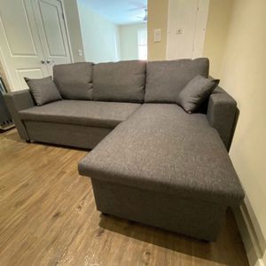 Brand New Gray Pull Out Linen Fabric Sectional Sofa Bed With Storage & Pillows for Sale in San Dimas, CA
