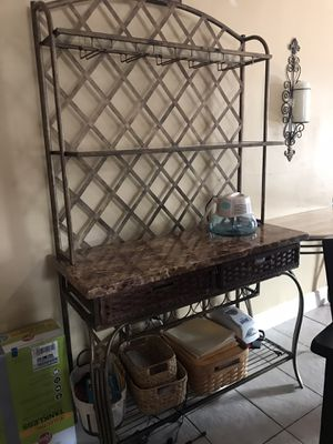 Iron and granite bar! Holds seven bottles in bottle rings, very well kept, originally cost $750 from Rooms to Go , asking price $250 ( only serious i for Sale in Carol City, FL