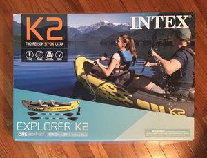 Intex Explorer K2 2-Person Inflatable Kayak, Oars & Hand Pump, New for Sale in Woodbridge, VA