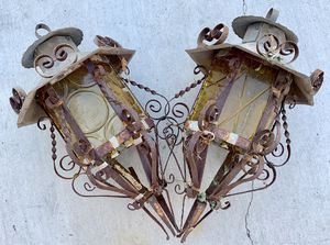 Antique 1900's Iron Light sconces with glass inserts for Sale in Los Angeles, CA