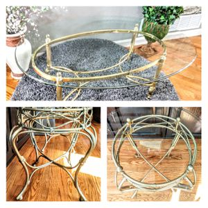 "💥Matching Gold & Glass Side Accent Tables 22"" x 39"" x 21"" & Beveled Glass & Metal Detailed Coffee Table 30"" x 47"" x 16""H for Sale in Arvada, CO"