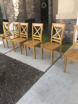 Brand new set of 6 solid wood dining chairs. Retails for over $800 for Sale in Fowler, CA