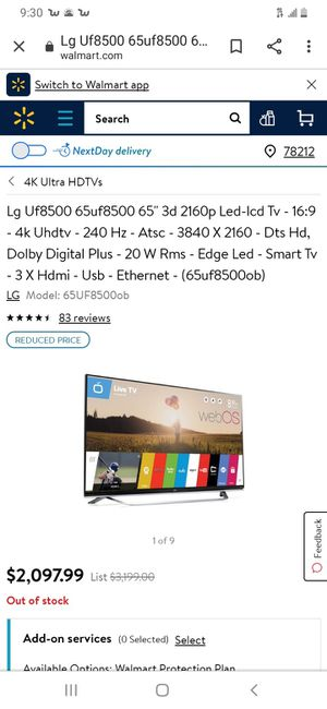Lg 65 smart 3D tv for Sale in CORP CHRISTI, TX