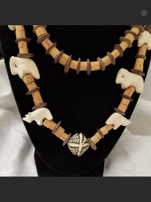 NWT Handcrafted Wood & Bone Beaded Elephant Necklace for Sale in Arbovale, WV
