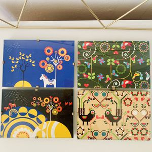Set of four framed nature postcards with Dala horse and birds for Sale in Long Beach, CA