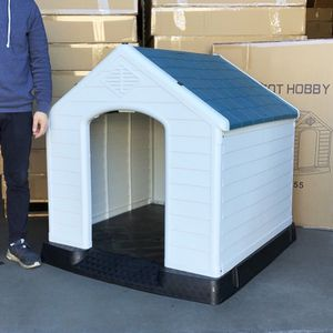 "$140 (new) plastic dog house x-large size pet indoor outdoor all weather shelter cage kennel 42x40x45"" for Sale in El Monte, CA"