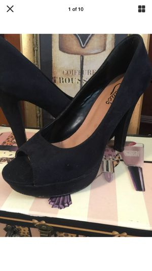 "Misses designer black suede heels pristine peep toe 4 "" heels size9 for Sale in Northfield, OH"