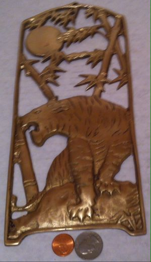 "Vintage Metal Brass Tiger Wall Hanging, Exotic, 11"" x 5"", Wall Hanging, Home Decor, Shelf Display, Heavy Duty Brass for Sale in Lakeside, CA"