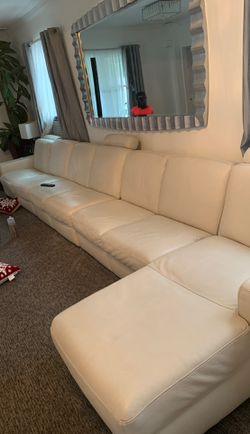 White leather couch one recliner off-white very good condition originally $10,000 for Sale in Hanover,  NJ