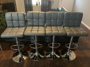 Brand new set of 4 gray bar stools / grey bar stools / gray pub stools (plush) HEIGHT ADJUSTABLE AND SWIVEL for Sale in Helotes, TX