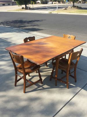 Wood Folding Table and 4 Wood Chairs for Sale in Clovis, CA