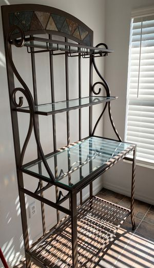 Kitchen table and four chairs plus the matching bakers rack and four matching counter stools for Sale in Cape Coral, FL