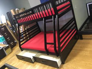 Twin over full bunk bed with drawers MEMORY FOAM MATTRESSES INCLUDED for Sale in Peoria, AZ