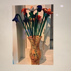 Vase Vintage Long Stem Hand Blown Glass Flowers for Sale in Huntington Beach, CA